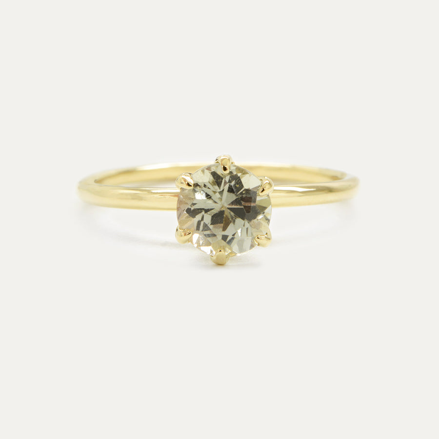 Viona Ring in 14K Yellow Gold with 0.90CT Round Brilliant Cut Green Tourmaline One of a Kind - A Gilded Leaf jewelry