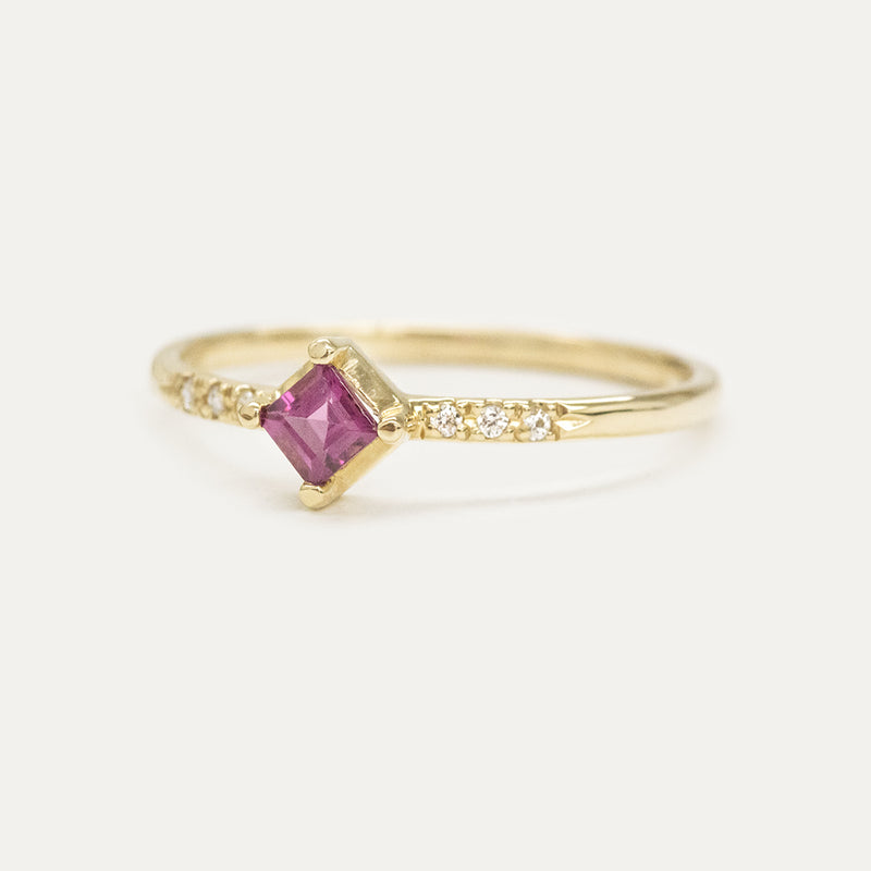 Princess Rhodolite Garnet Diamond Ring Rings - A Gilded Leaf jewelry