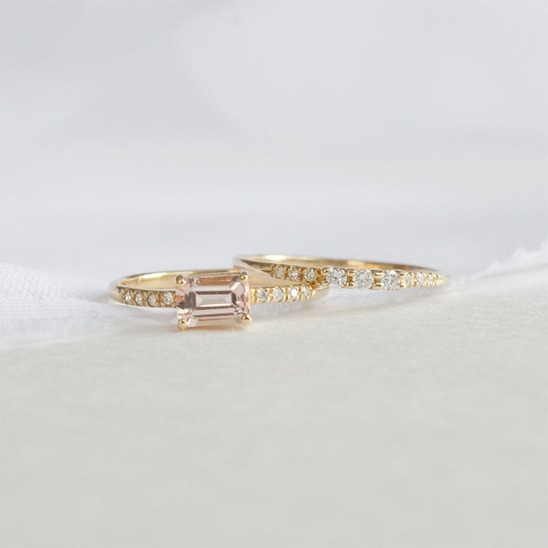 Morganite Emerald Cut Diamond Ring Rings - A Gilded Leaf jewelry