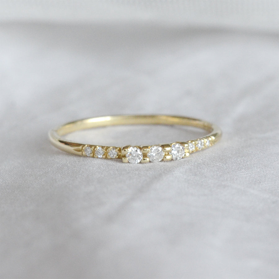 Three Diamond Accent Pave Ring Rings - A Gilded Leaf jewelry