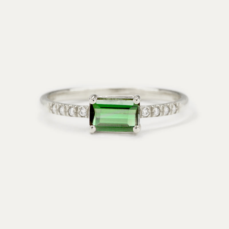 Emerald Cut Green Tourmaline Pavé Diamond Ring - Sample
