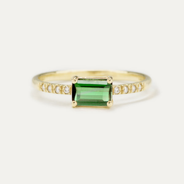 Green Tourmaline Emerald Cut Diamond Ring