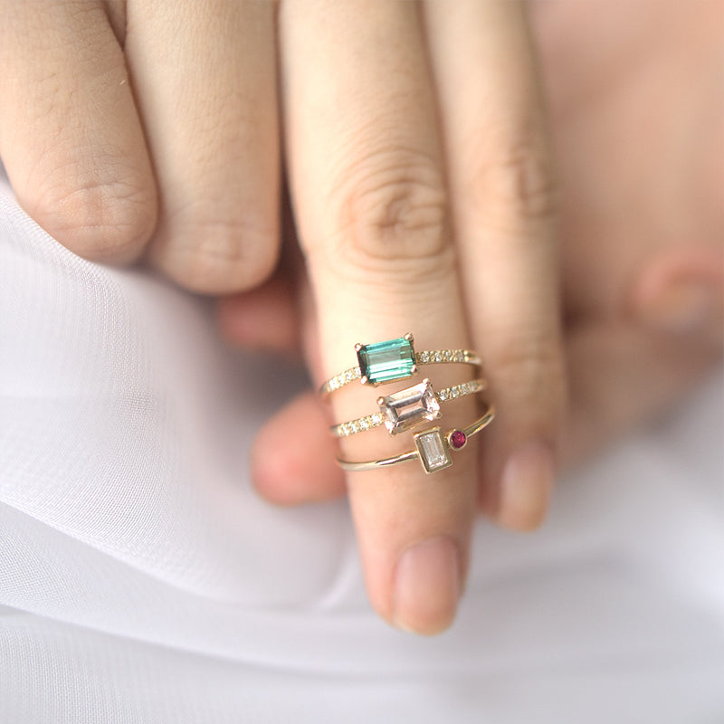 Emerald Cut Green Tourmaline Pavé Diamond Ring