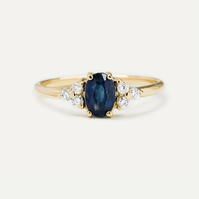 Starlet Oval Blue Sapphire and Diamond Ring - Sample