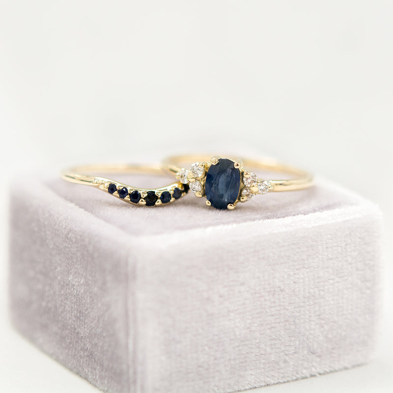 Oval Sapphire Diamond Ring Rings - A Gilded Leaf jewelry