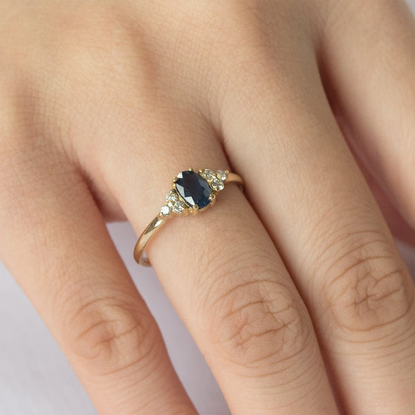 Starlet Oval Blue Sapphire and Diamond Ring