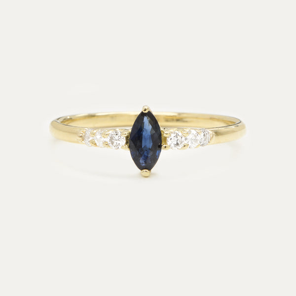Marquise Sapphire Diamond Ring Rings - A Gilded Leaf jewelry