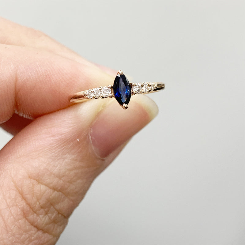 Night in Paris Marquise Blue Sapphire and Diamond Ring - Sample