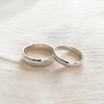 Classic Half Round Band 4MM - White Gold