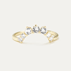 White Sapphire Curved Cluster Ring Rings - A Gilded Leaf jewelry