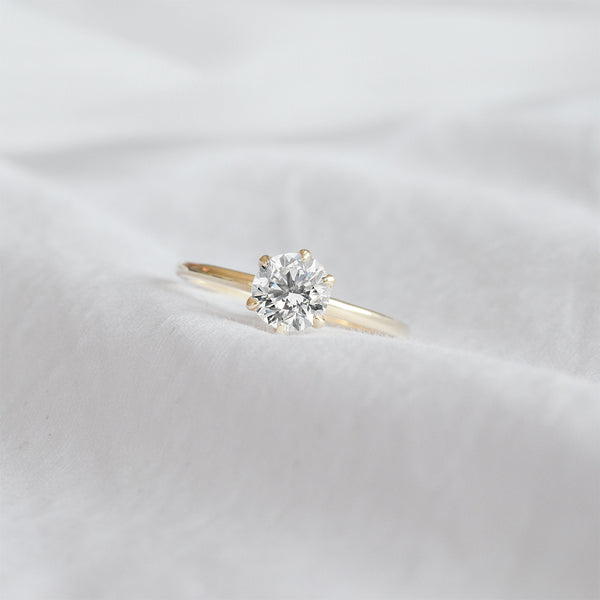 5.50MM Round Diamond Six Prong Solitaire Engagement Ring