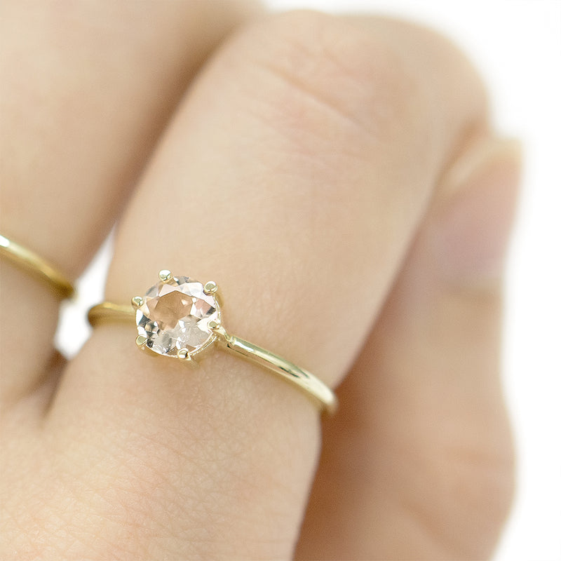 Morganite 6-Prong Ring Rings - A Gilded Leaf jewelry