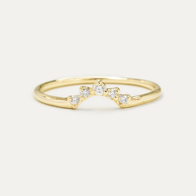 Curved Diamond Wedding Band Rings - A Gilded Leaf jewelry