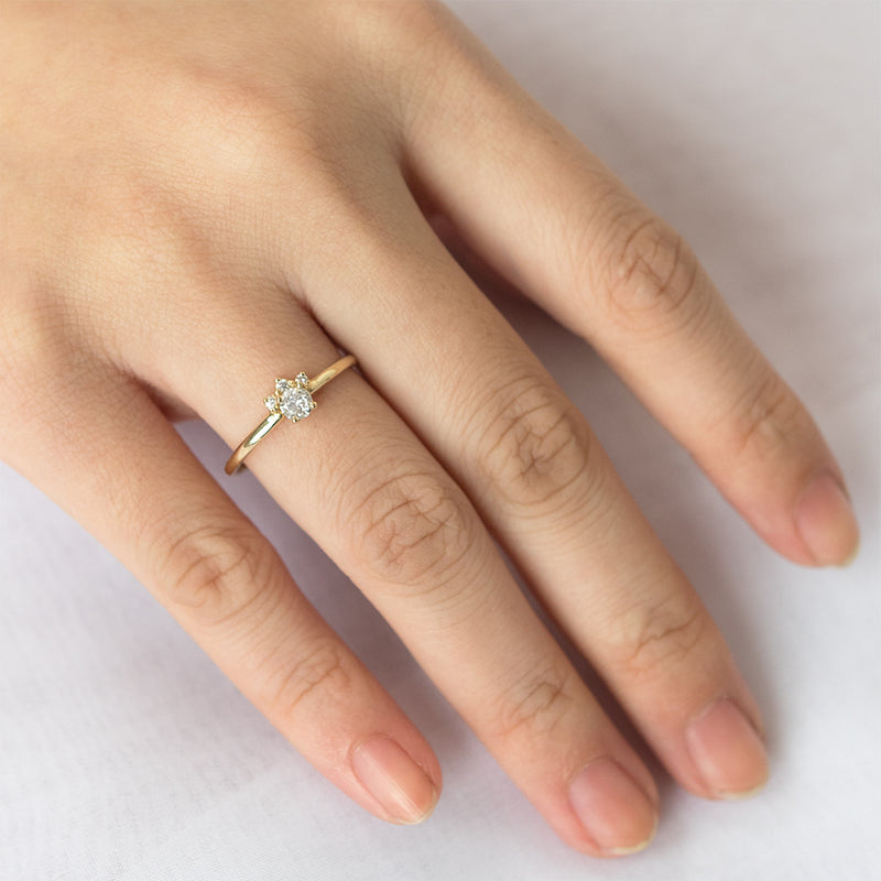 Petite Diamond Halo Ring - Sample
