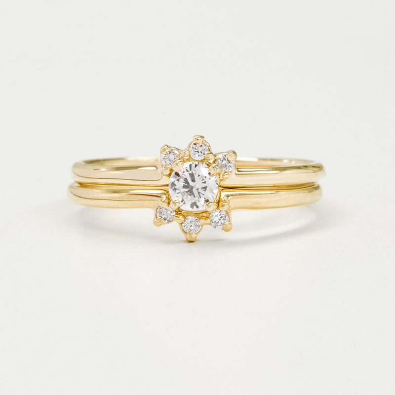 Dainty Halo Diamond Wedding Set Rings - A Gilded Leaf jewelry