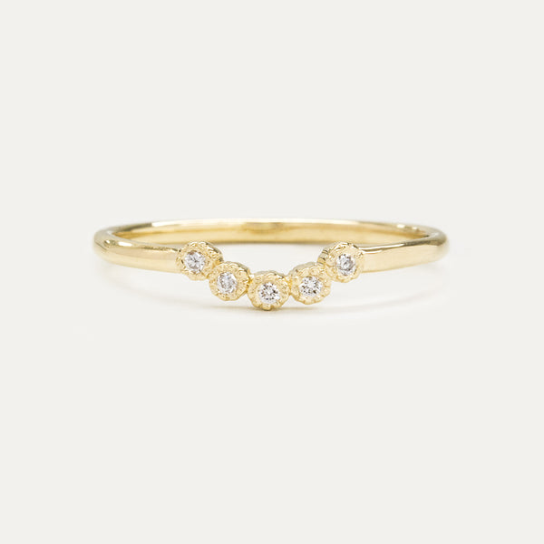 Bohemian Milgrain Curved Five Diamond Ring Rings - A Gilded Leaf jewelry