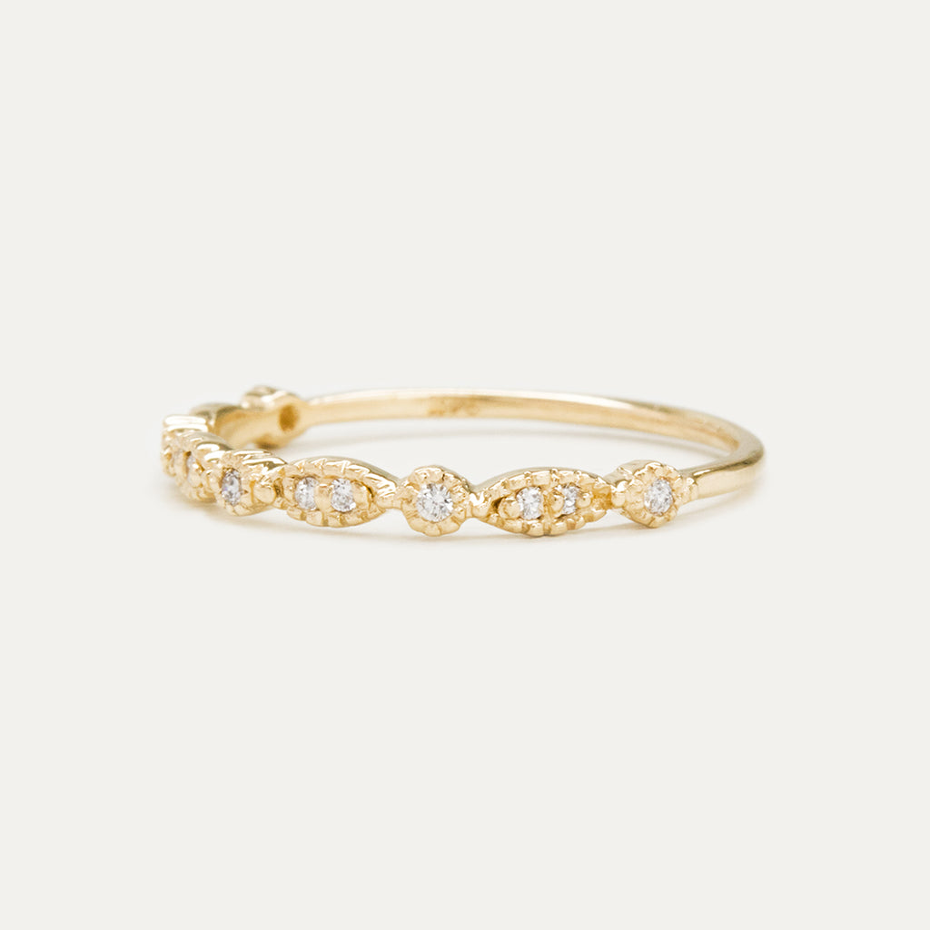 Milgrain Marquise Round Diamond Ring Rings - A Gilded Leaf jewelry
