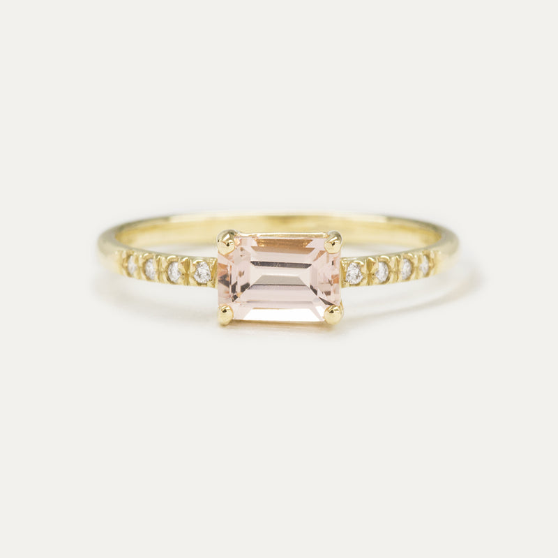 Emerald Cut Morganite Pavé Diamond Ring - Sample