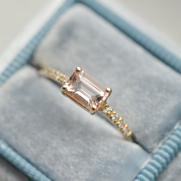 Morganite Emerald Cut Diamond Ring