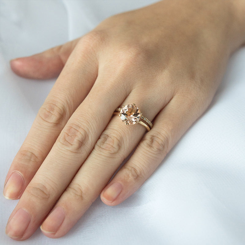 Classic Morganite Solitaire Six-Prong Ring - Sample