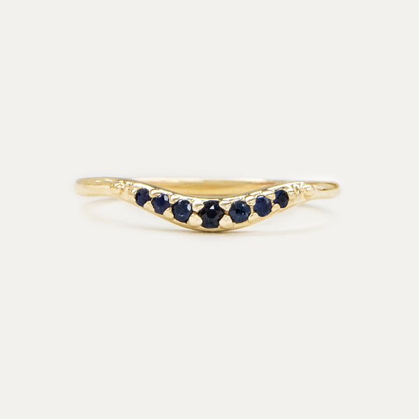 Tapered Curved Sapphire Band Rings - A Gilded Leaf jewelry