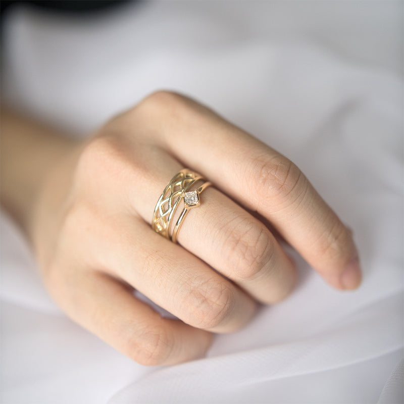 Princess Cut Diamond Ring Rings - A Gilded Leaf jewelry