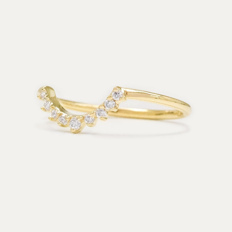 Large Curved Diamond Wedding Band Rings - A Gilded Leaf jewelry