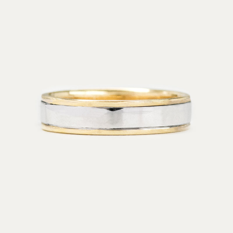 Classic Flat Edge Two Tone 5MM Wedding Ring - Yellow Gold Rings - A Gilded Leaf jewelry
