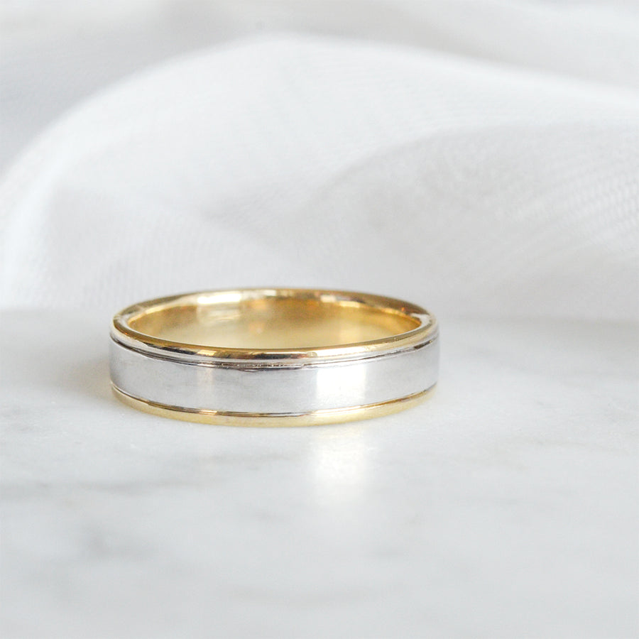 Classic Flat Edge Two Tone 5MM Wedding Ring - Yellow Gold