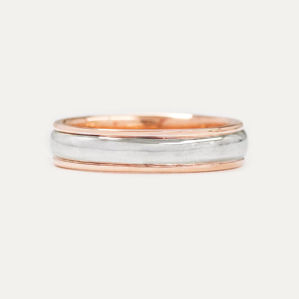 Classic Half Round Two Tone 5MM Wedding Ring - Rose Gold Rings - A Gilded Leaf jewelry