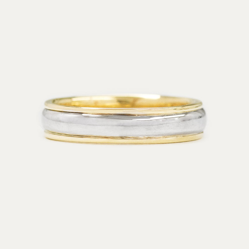 Classic Half Round Two Tone 5MM Wedding Ring - Yellow Gold Rings - A Gilded Leaf jewelry