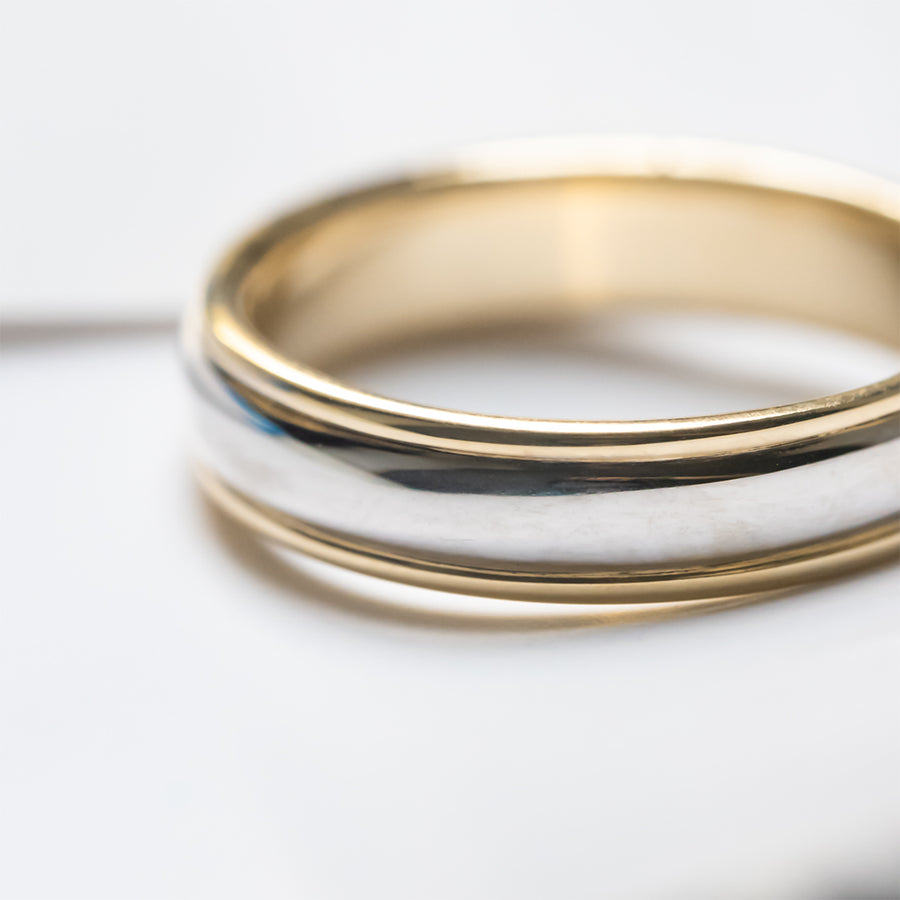 Classic Half Round Two Tone 5MM Wedding Ring - Yellow Gold