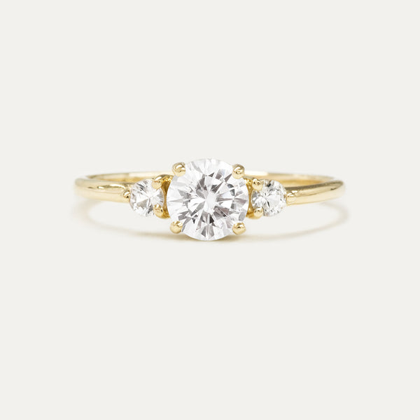Three Stone Round Moissanite Engagement Ring