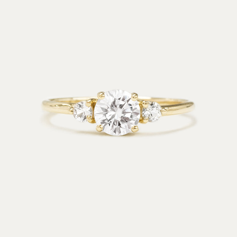 Round Moissanite Three Stone Engagement Ring