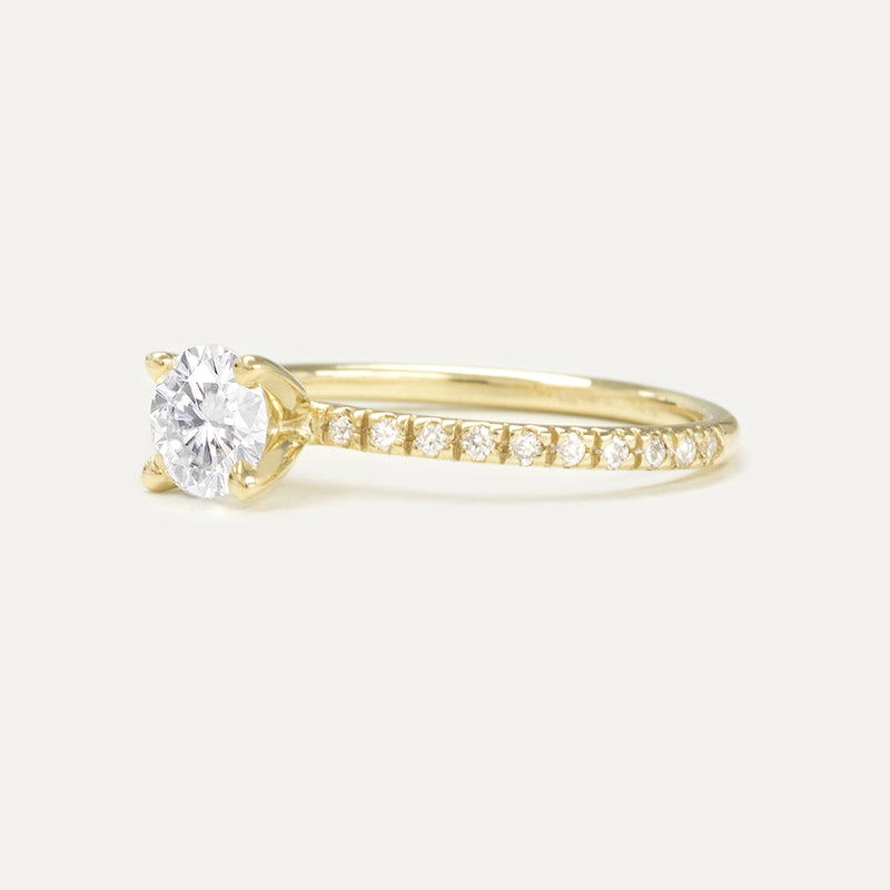 Forever One Round Moissanite and Diamonds Four Prong Classic Engagement Ring Rings - A Gilded Leaf jewelry