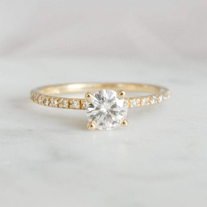 5.50MM Round Moissanite Engagement Ring With 20 Side Diamonds