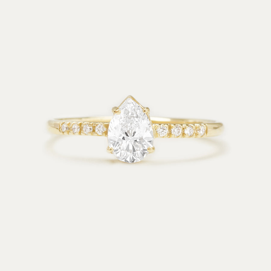 Forever One Pear GHI Moissanite and Diamonds Four Prong Classic Engagement Ring Rings - A Gilded Leaf jewelry