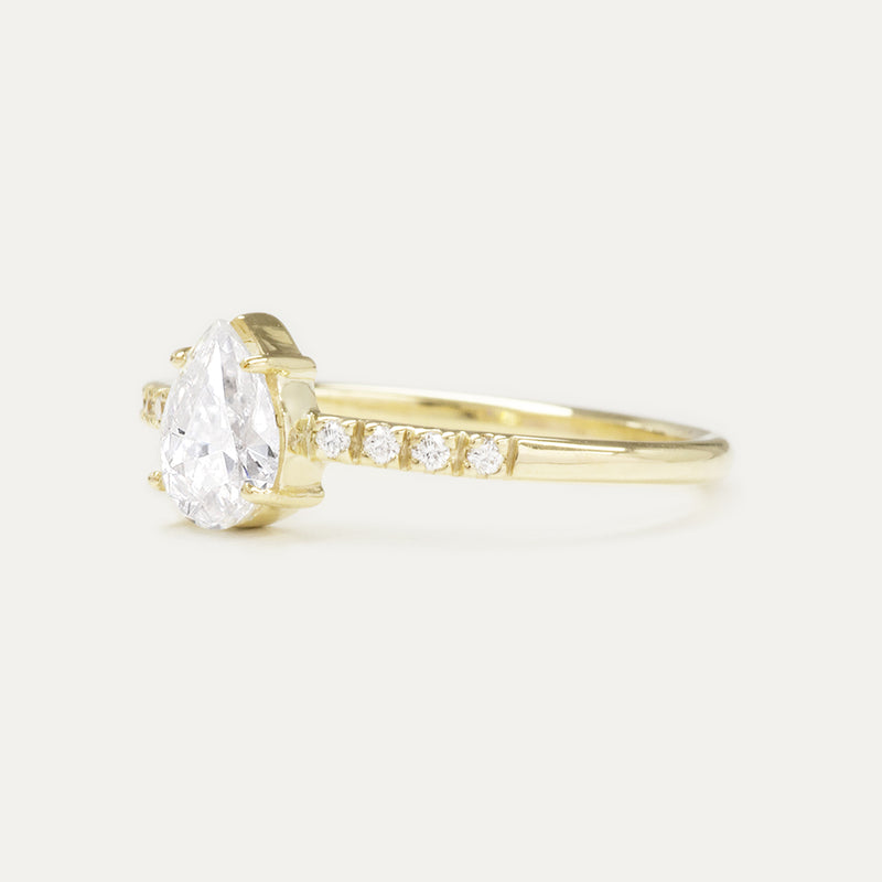 Forever One Pear DEF Moissanite and Diamonds Four Prong Classic Engagement Ring Rings - A Gilded Leaf jewelry