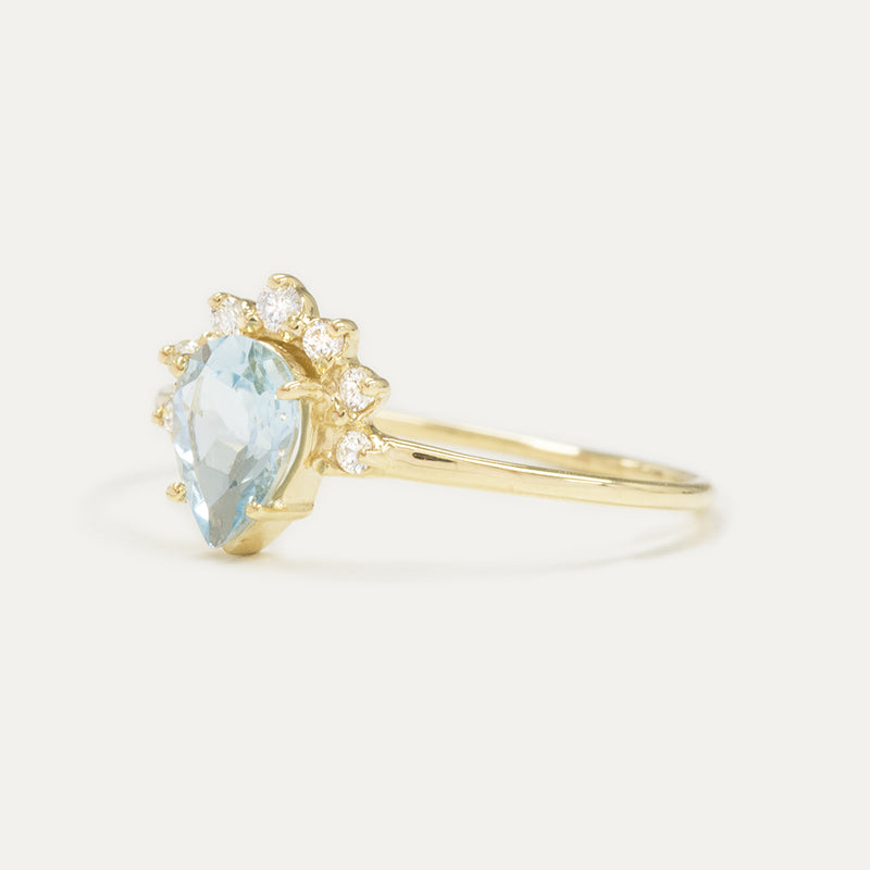 Aquamarine Pear Cut Diamond Wedding Set Rings - A Gilded Leaf jewelry