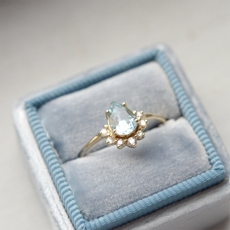 Aquamarine Pear Cut Diamond Ring Rings - A Gilded Leaf jewelry