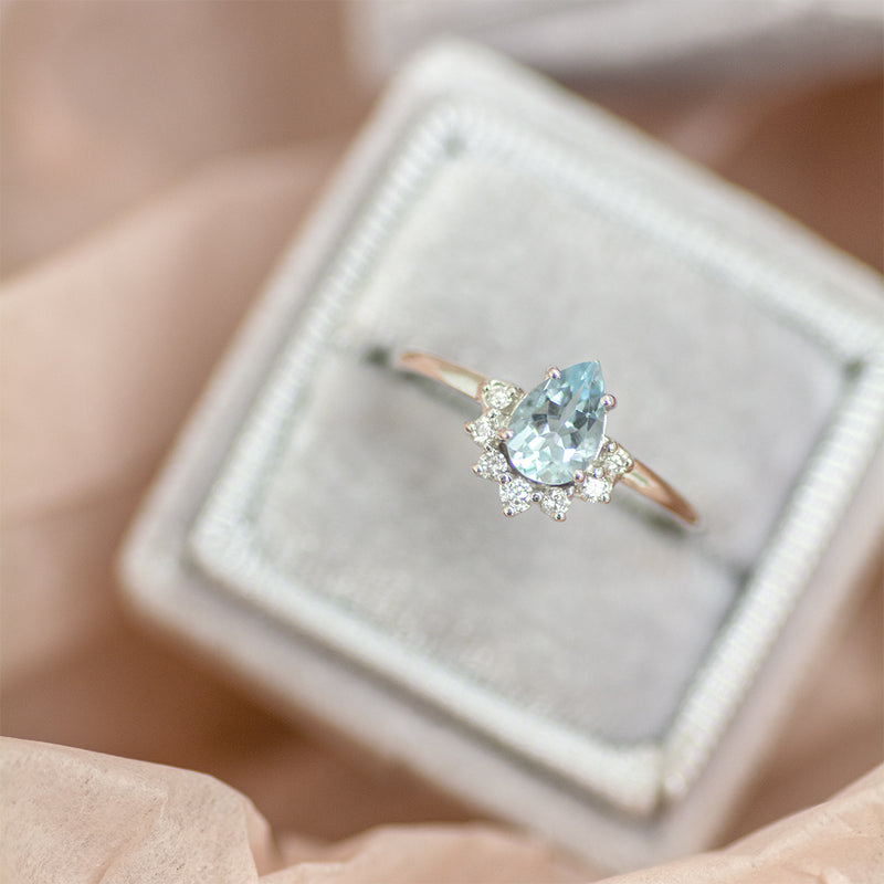 Pear Aquamarine Half Halo Diamond Ring - Sample