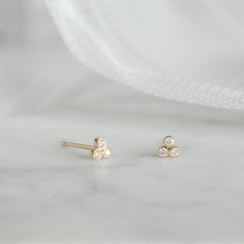 Tiny Three Diamond Bezel Studs