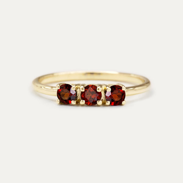Trio Red Garnet Ring Rings - A Gilded Leaf jewelry