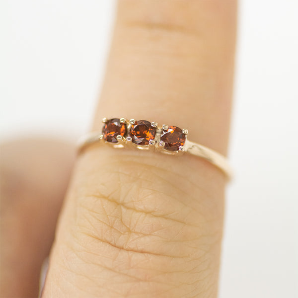 Trio Red Garnet Ring