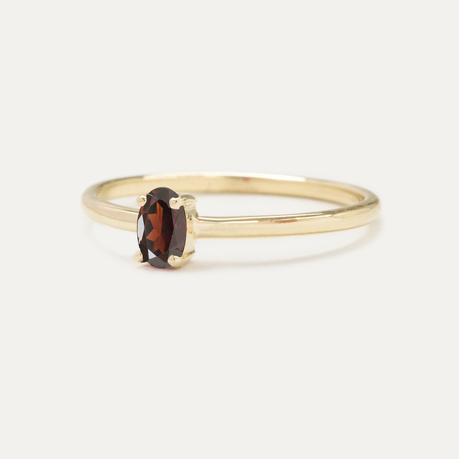Oval Garnet Solitaire Ring Rings - A Gilded Leaf jewelry