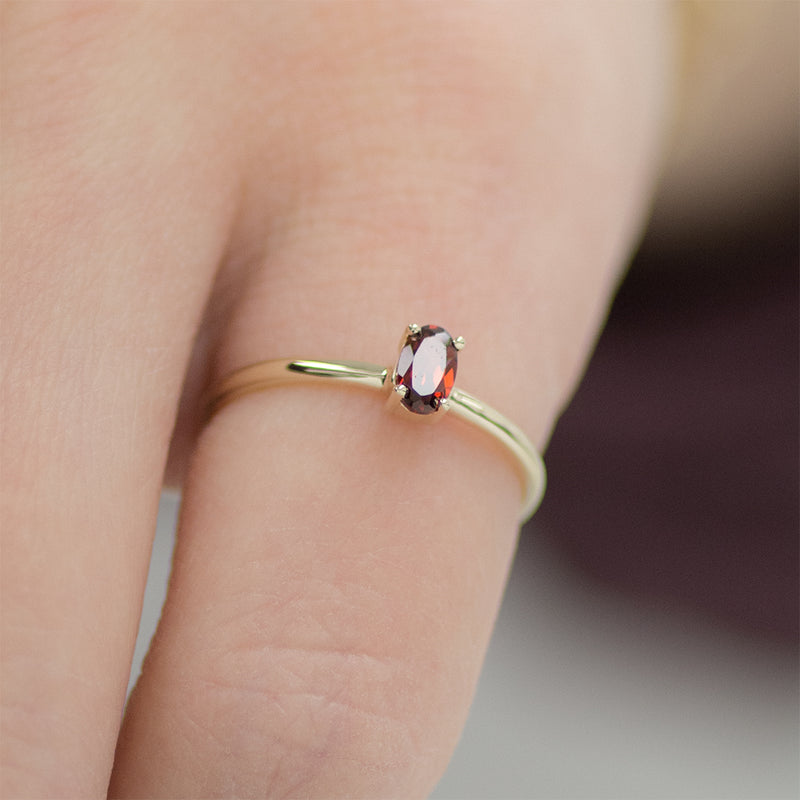 Oval Garnet Solitaire Ring
