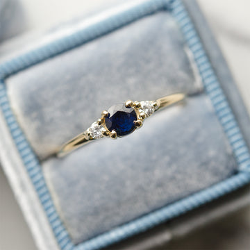 Three Stone Sapphire Diamond Ring