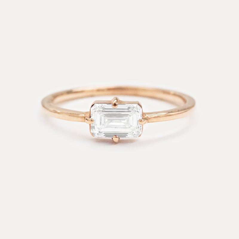 6x4MM Emerald Cut Moissanite East-West Solitaire Ring
