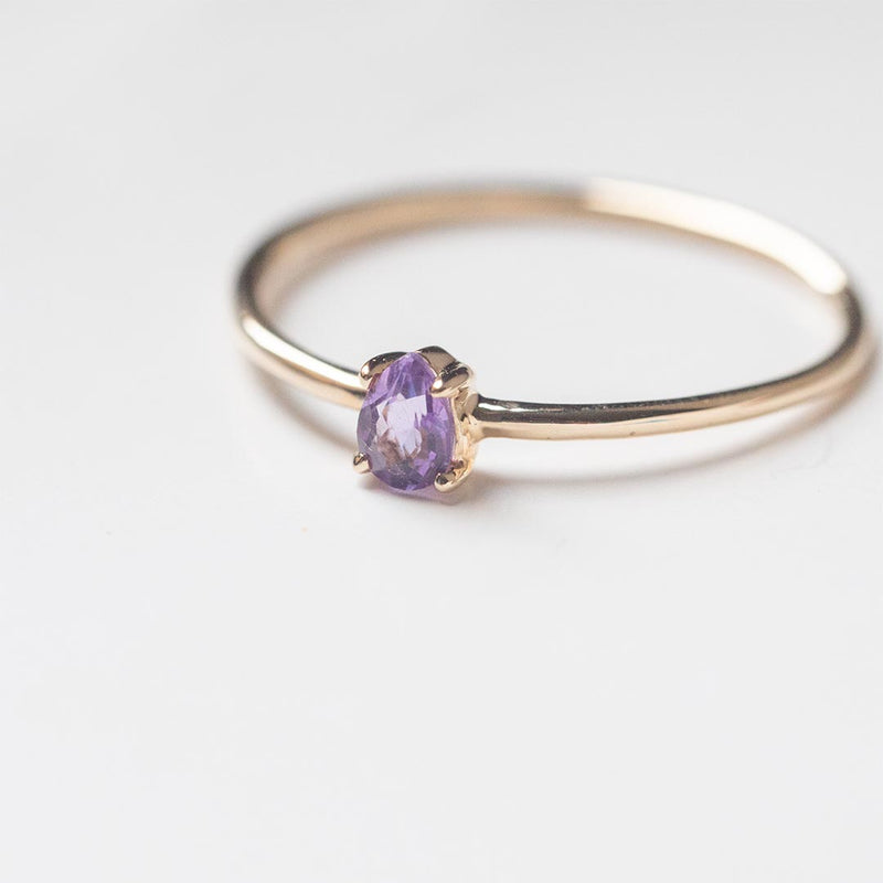 Petite Pear Amethyst Ring - Sample