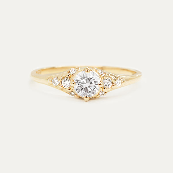 Forever One Round Moissanite and Diamonds Four Prong Cluster Engagement Ring Rings - A Gilded Leaf jewelry